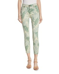 Parker Smith Ava Palm Springs Cropped Skinny Jeans Green White