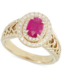 Rare Featuring Gemfield's Rare Featuring Gemfields Certified Ruby 2 3 Ct. T.W. And Diamond 1 3 Ct. T.W. Heart Ring In 14K Gold