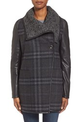 Women's Vera Wang 'Olivia' Plaid Mixed Media Coat