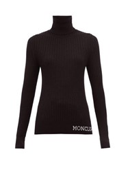 Moncler Logo Ribbed Roll Neck Wool Sweater Black