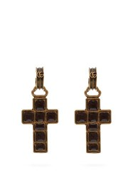 Gucci Cross Drop Earrings Black