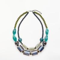 One Button Double Row Ceramic Beaded Necklace Blue