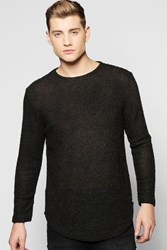 Boohoo Line Textured Jumper With Curve Hem Black