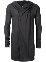 Rick Owens Longline Hooded Cardigan Grey