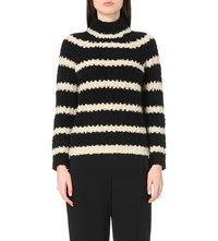 Karen Millen Boucle Striped Turtleneck Wool Blend Jumper Multi Coloured