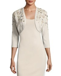 Oscar De La Renta Cropped Metallic Knit Cardigan Gold