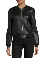 Vero Moda Faux Leather Bomber Jacket Black