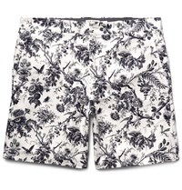 Club Monaco Baxter Slim Fit Printed Linen And Cotton Blend Shorts White