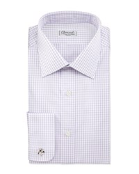 Charvet Check French Cuff Dress Shirt Lavender White