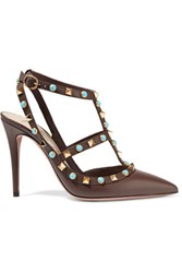 Valentino Rockstud Embellished Textured Leather Pumps Dark Brown