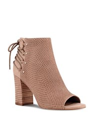 Nine West Britt Textured Suede Peep Toe Ankle Boots Natural