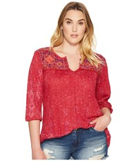 Lucky Brand Plus Size Embroidered Slit Neck Top Red Multi Women's Short Sleeve Pullover