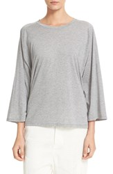 Vince Women's Full Raglan Sleeve Cotton And Cashmere Tee Heather Grey
