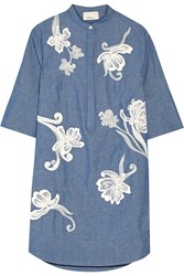 3.1 Phillip Lim Embroidered Cotton Chambray Shirt Dress Blue