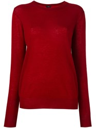 Joseph Crew Neck Jumper Red
