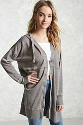 Forever 21 Contemporary Button Down Hoodie Charcoal