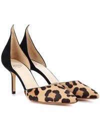 Francesco Russo Leopard Printed Calf Hair Pumps Brown