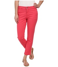 Calvin Klein Jeans Abbreviated Crop Straight Leg Pant Coral Flower Women's Casual Pants White