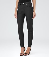 Reiss Helvin Coated Womens High Rise Skinny Jeans In Black