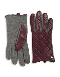 Lauren Ralph Lauren Wool Blend And Quilted Leather Touch Gloves Wine
