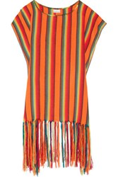 Miguelina Vega Fringed Striped Canvas Coverup Multi