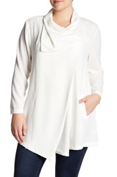 Bobeau Single Button Draped Blazer Plus Size White
