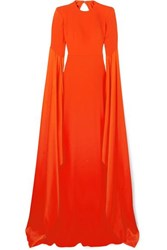 Alex Perry Abigail Open Back Crepe Gown Tomato Red