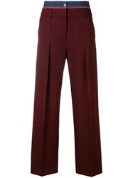 Victoria Beckham Double Waistband Trousers Red