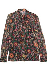 Red Valentino Redvalentino Pussy Bow Printed Crinkled Silk Georgette Blouse Orange