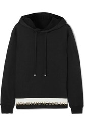 Moncler Intarsia Trimmed Loopback Cotton Blend Jersey Hoodie Black