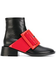 Maison Martin Margiela Mm6 Contrast Buckle Ankle Boots Women Leather Rubber 38 Black