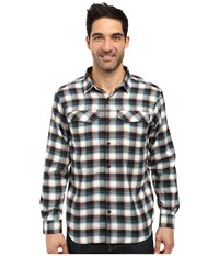 Columbia Silver Ridge Flannel Long Sleeve Shirt Deep Water Mid Plaid Men's Long Sleeve Button Up Black