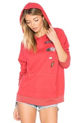 Sundry Patches Hoodie Red