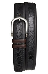 Men's Mezlan 'Lipari' Nappa And Genuine Crocodile Leather Belt Black Dark Brown