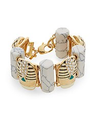 Lele Sadoughi Egyptian Deco Howlite And Marble Scarab Bracelet Gold Multi