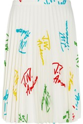 J.W.Anderson Pleated Printed Stretch Crepe Skirt White