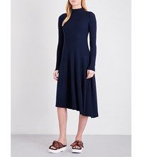 Moandco. Cutout Midi Pure Wool Dress Peacoat