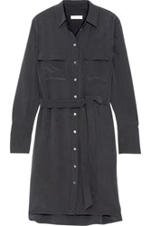 Equipment Delany Washed Silk Shirt Dress Black