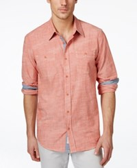 Weatherproof Long Sleeve Solid Chambray Woven Shirt Orange