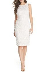 Eliza J Applique Lace Sheath Dress Ivory Beige