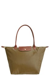 Longchamp 'Large Le Pliage' Tote Brown New Khaki