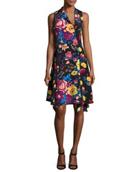 Diane Von Furstenberg Sleeveless Bias Cut Floral Print Silk Dress Black Pattern