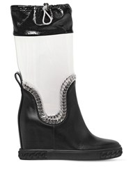 Casadei 80Mm Plexi And Leather Wedge Boots Black