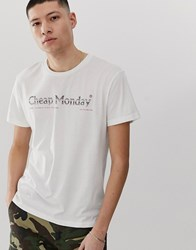 Cheap Monday T Shirt With Fade Logo In White