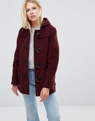 Gloverall Mid Slim Duffle Coat In Burgundy Red