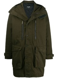 Dsquared2 Concealed Zip Up Parka Green