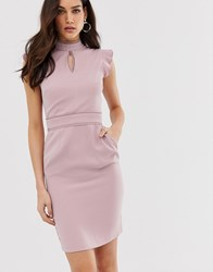 Paper Dolls Capped Sleeve Pencil Midi Dress With Keyhole Detail Purple