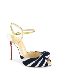 Christian Louboutin Eponge 100 Knotted Peep Toe Ankle Strap Sandals Navy White