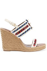 Tory Burch Embellished Leather Wedge Sandals White