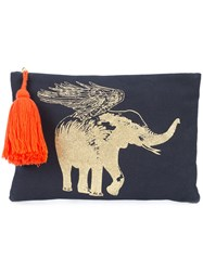 Figue Flying Elephant Pouch Women Cotton One Size Blue